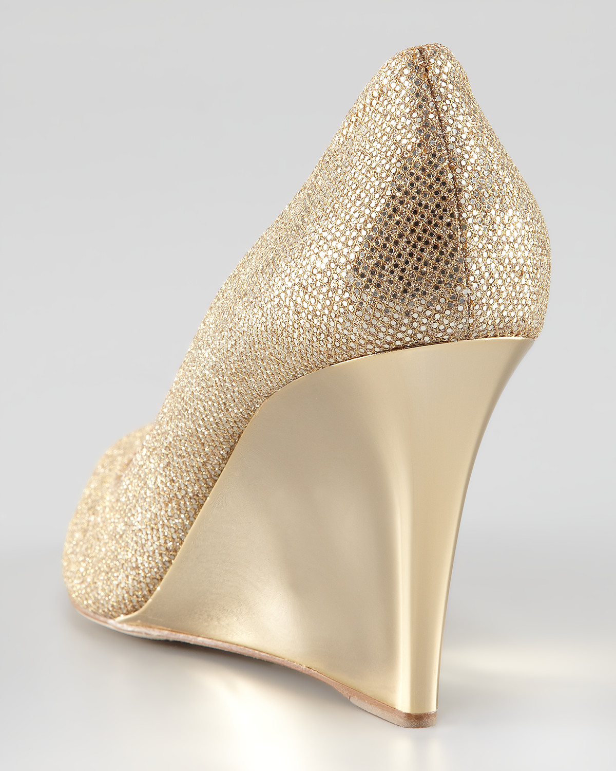 ef16f0ad788 Lyst - Jimmy Choo Baxen Glitter Mirrored Wedge in Metallic