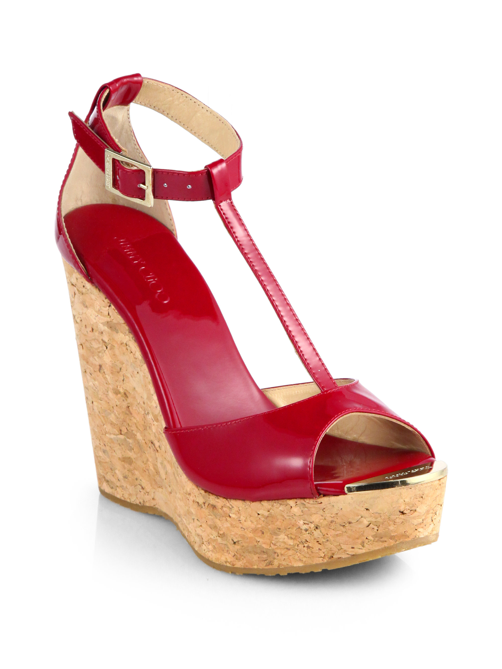a56b67744b1 uk jimmy choo delaney platform wedge 4094f c9908  discount code for lyst  jimmy choo pela patent leather tstrap cork wedge sandals in red da50b