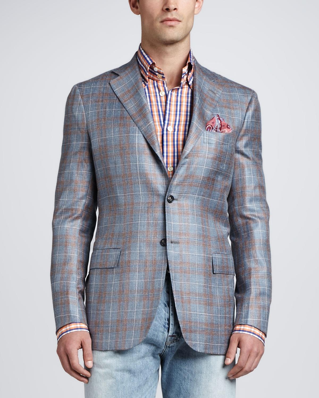 Kiton Threebutton Plaid Jacket in Blue for Men