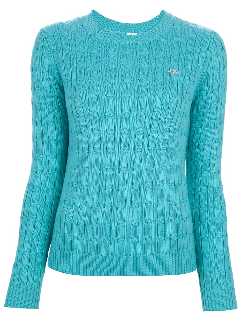 Lyst Lacoste L Ive Cable Knit Jumper In Blue
