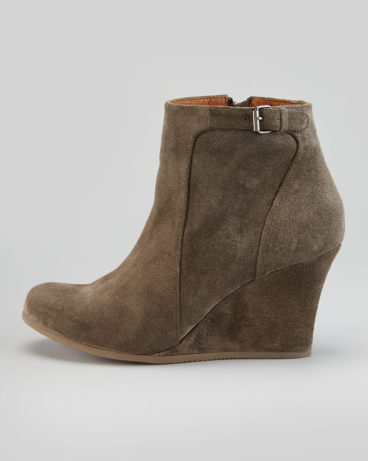 Lanvin Suede Wedge Ankle Boot Gray in Gray | Lyst