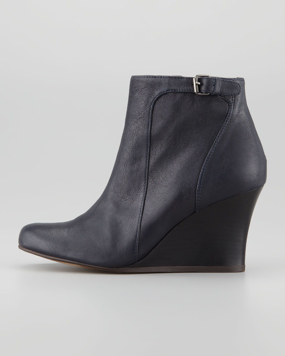 Lanvin Leather Wedge Ankle Boot Blue Night in Black | Lyst