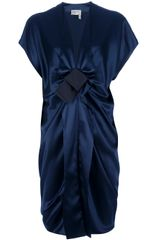 Lanvin Bow Draped Dress - Lyst