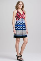Laundry By Shelli Segal Halter Mixedprint Jersey Dress - Lyst