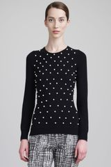 Lela Rose Pearlyembroidered Sweater - Lyst