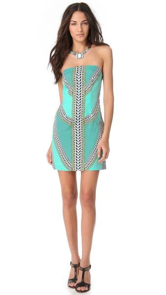 Mara hoffman Strapless Mini Dress in Green - Lyst