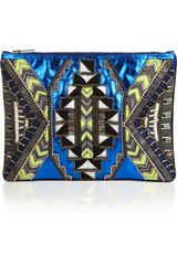 Matthew Williamson Embellished Metallic Leather Clutch - Lyst