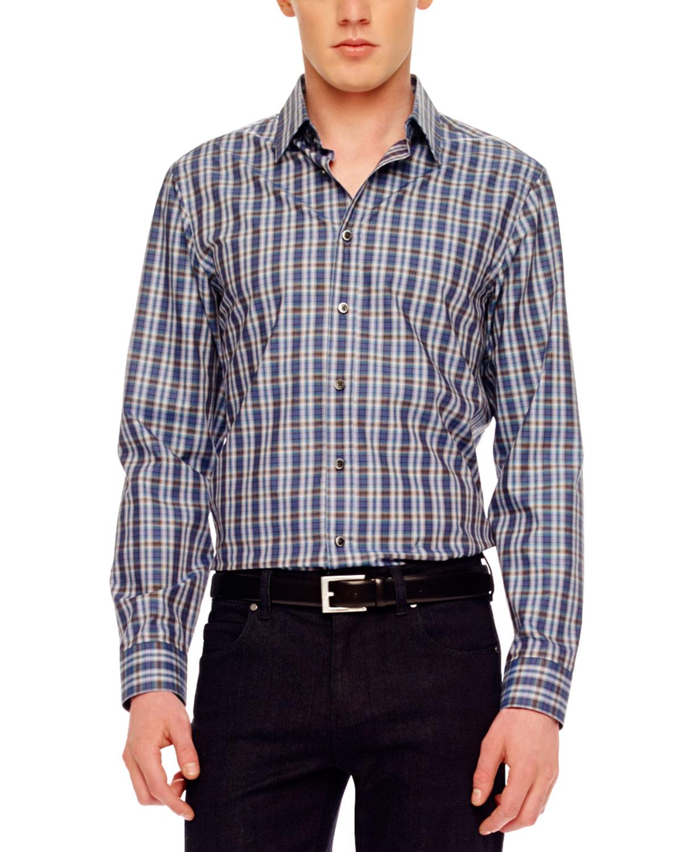 Michael kors plaid shirt in blue for men navy lyst for Navy blue plaid shirt