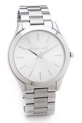 Michael Kors Silver Slim Runway Watch - Lyst