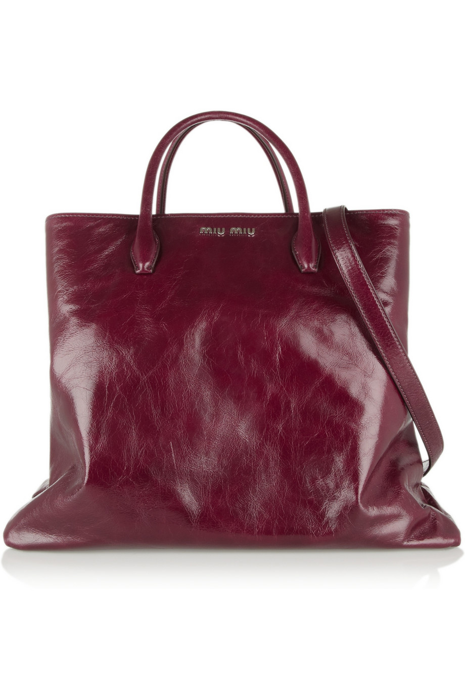 a74285fdf253 Lyst - Miu Miu Cracked Glossedleather Tote in Purple