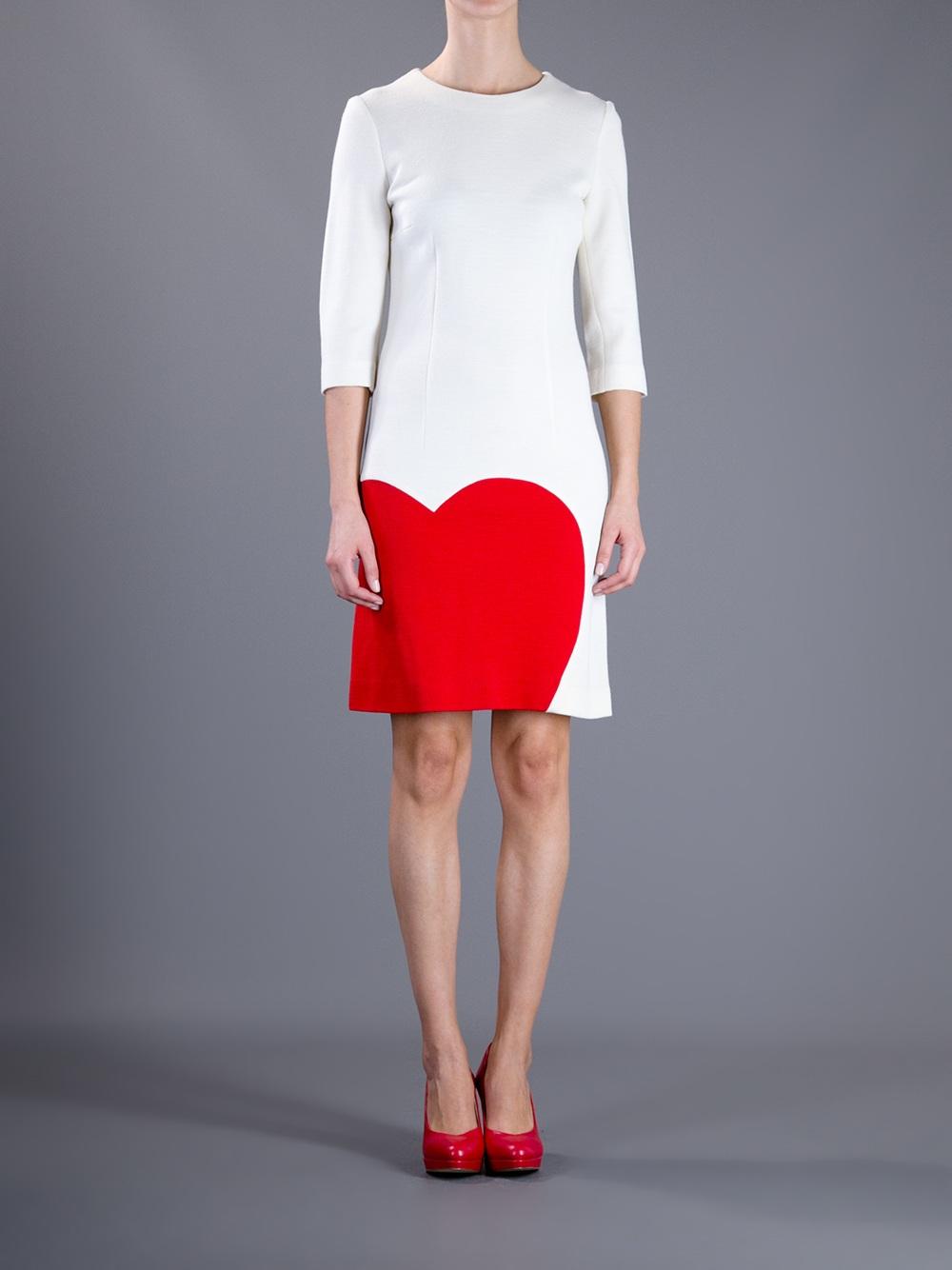Lyst Moschino Heart Dress In White