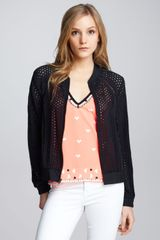 Nanette Lepore Club Queen Perforated Bomber Jacket - Lyst