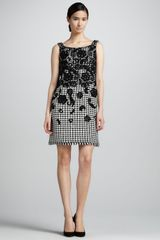 Oscar de la Renta Womens Floral embellished Houndstooth Dress - Lyst