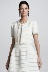 Oscar de la Renta Womens Cropped Fringe Tweed Jacket Ivory - Lyst