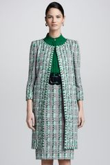 Oscar de la Renta Womens Overwoven Embroidered Houndstooth Coat - Lyst