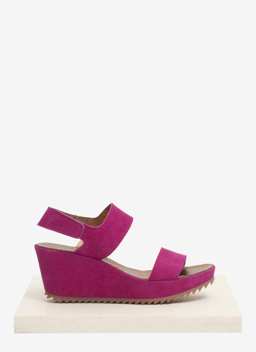 pedro garcia suede wedge sandals in purple lyst