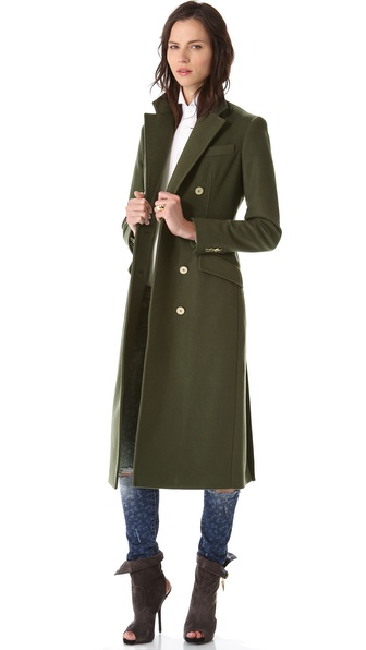 Balmain Double Breasted Long Coat in Green | Lyst