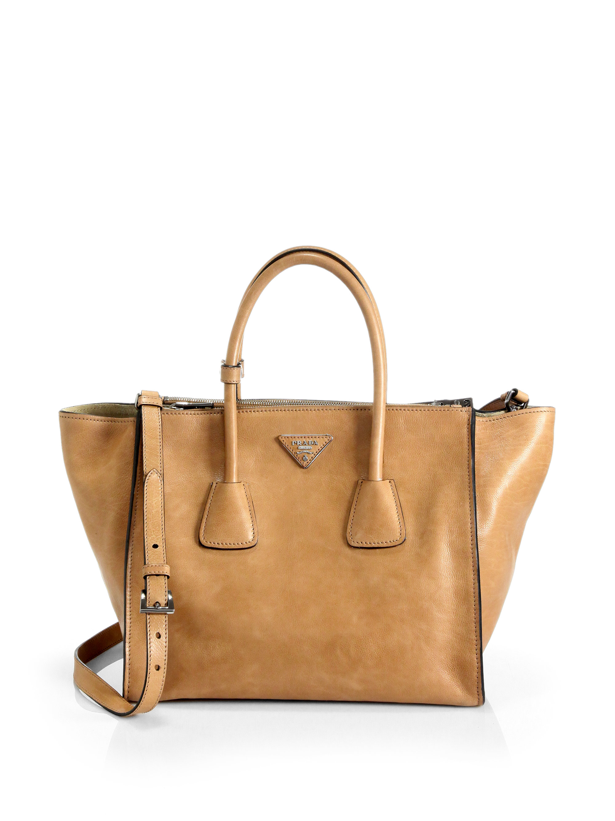 b846bd036f19d Prada Glace Calf Twin Pocket Tote in Brown - Lyst
