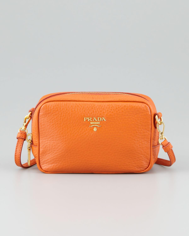 4cabd6b566550 Lyst - Prada Mini Ziptop Crossbody Bag in Orange