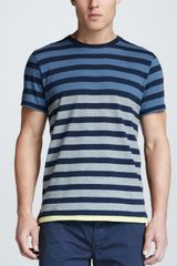 Rag & Bone Colorblock Stripe Tee Navy - Lyst