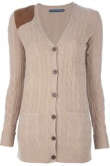 Ralph Lauren Blue Label Long Cable Knit Cardigan - Lyst