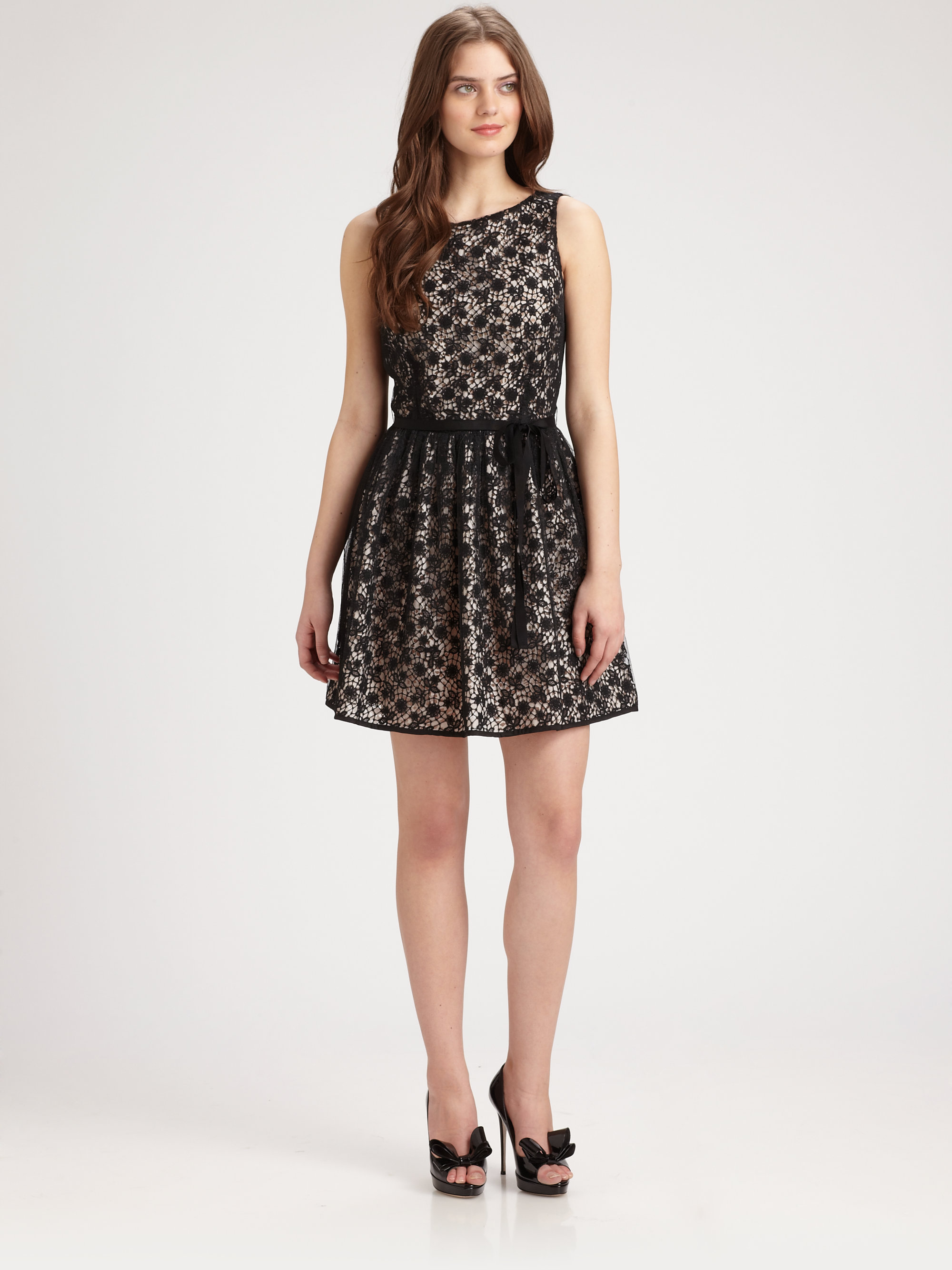 Red valentino Lace Overlay Dress in Black  Lyst