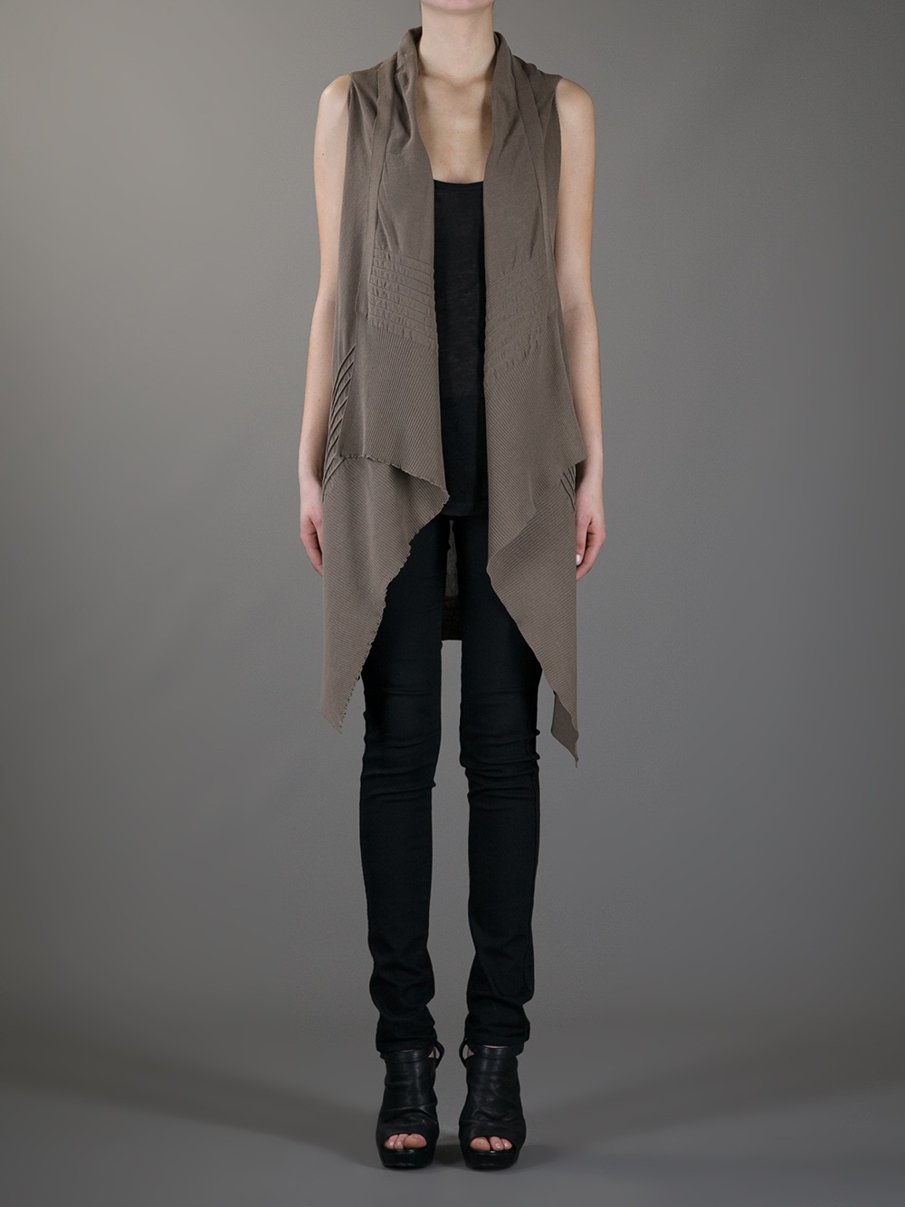 Rick owens Sleeveless Cardigan in Brown | Lyst