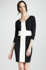 Robert Rodriguez Fitted Contrast Dress - Lyst