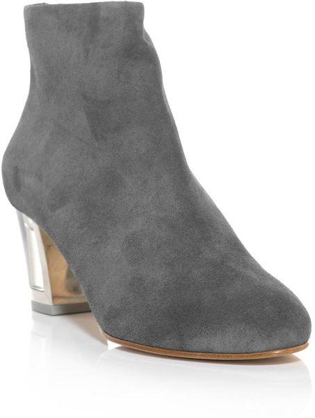 rupert sanderson honeycup perspex heel suede boots in gray