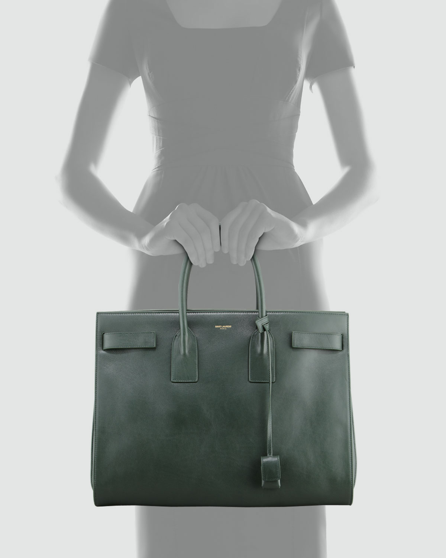 93638227dd12 Saint laurent Classic Sac De Jour Leather Tote Bag Green in Green . ...