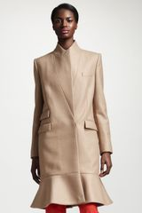 Stella McCartney Flounce hem One button Coat Camel - Lyst