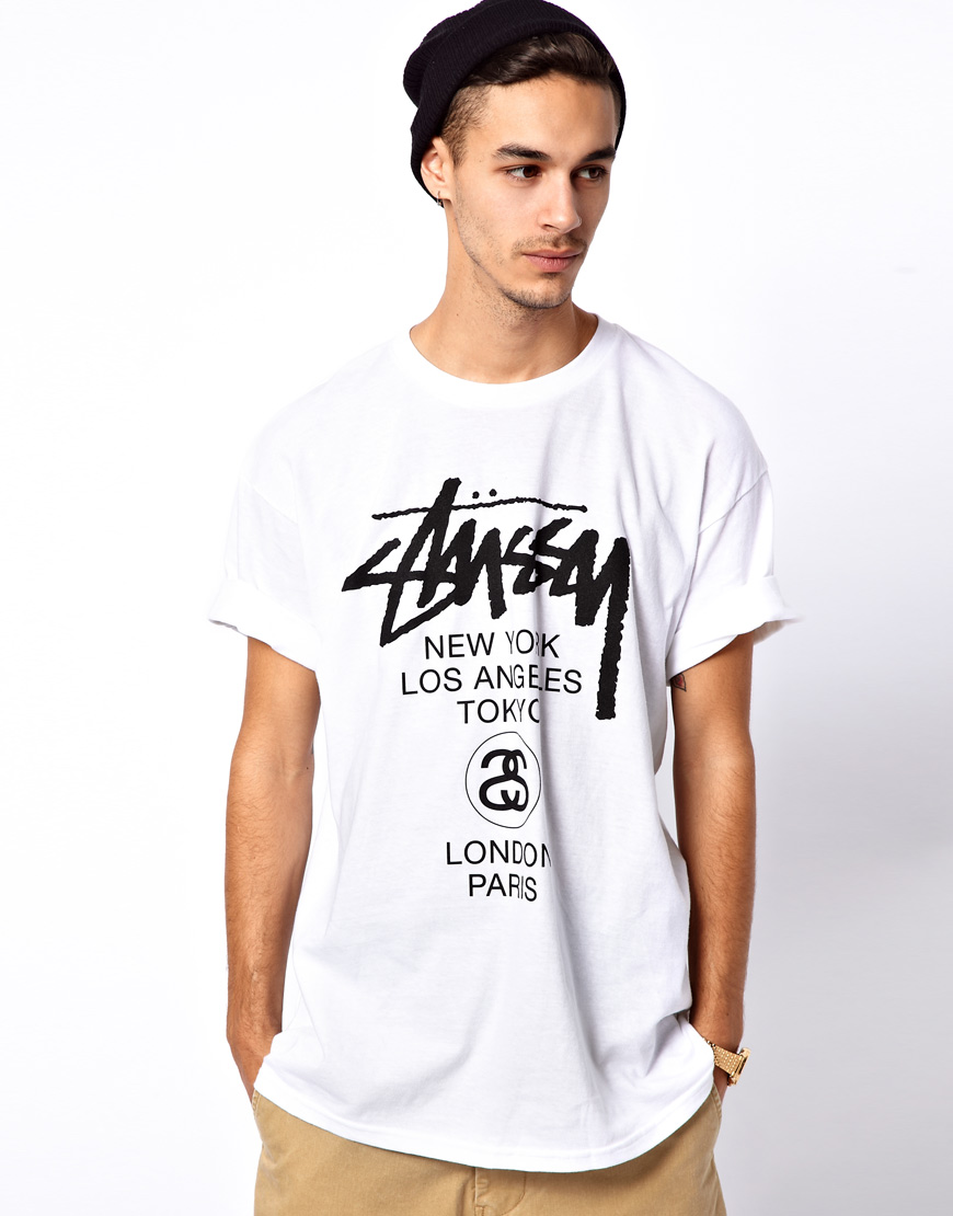 stussy t shirt in white for lyst