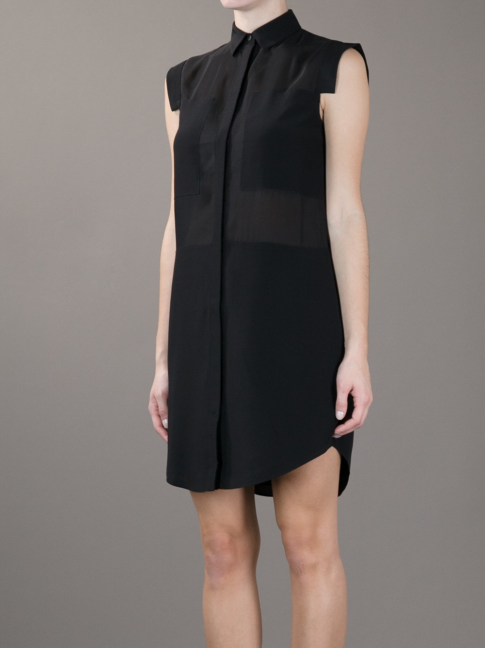 Lyst T By Alexander Wang Paneled Shirt Dress In Black