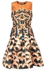 Thakoon Orange Floral Pleated Dress - Lyst