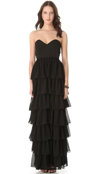 Thayer Tiered Maxi Dress in Black | Lyst
