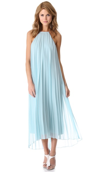 Tibi Pleated Chiffon Dress in Blue | Lyst