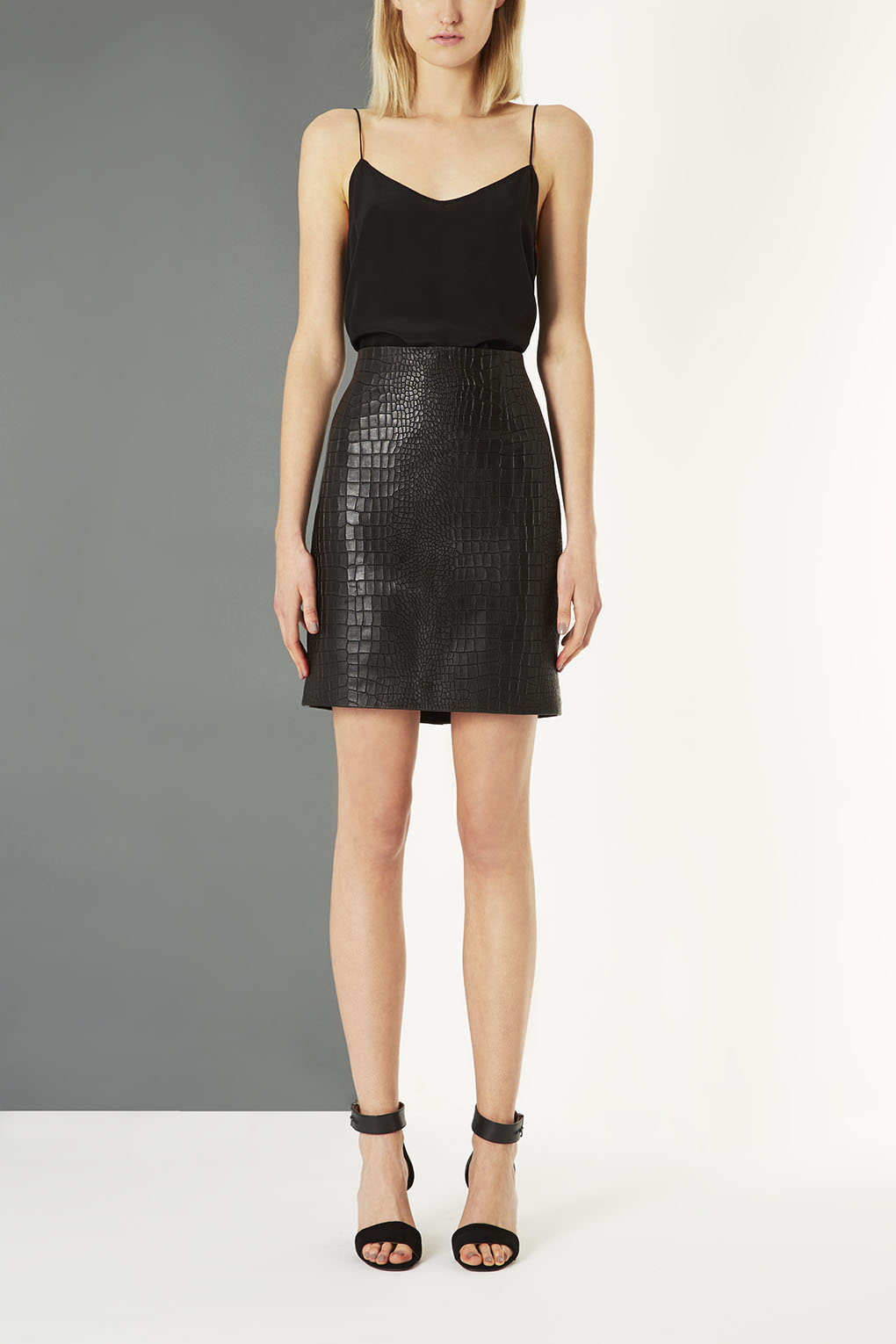 topshop leather croc embossed pencil skirt by boutique in