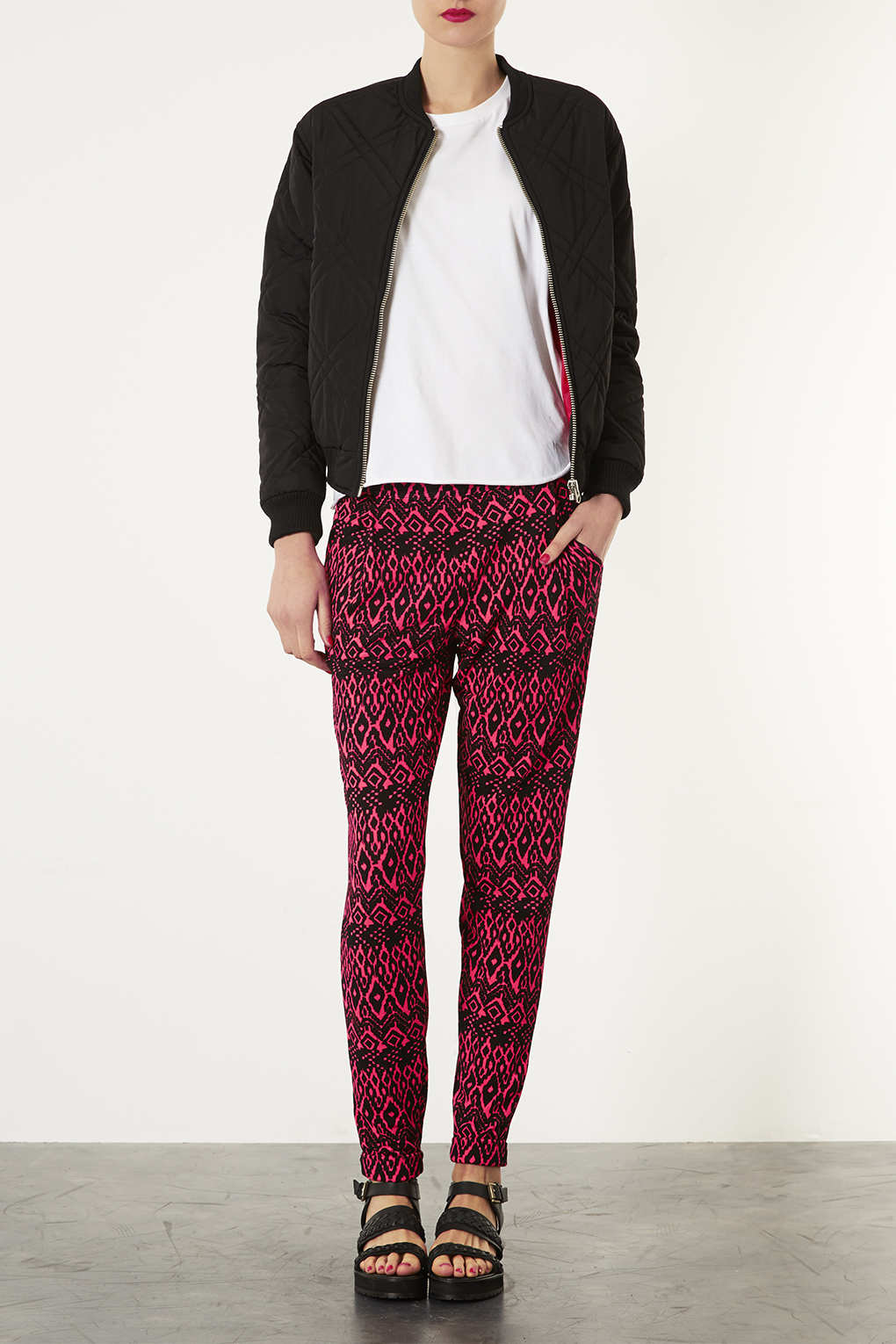 Lyst Topshop Fluro Aztec Jersey Tapered Trousers In Purple