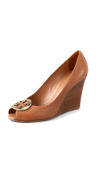 Tory burch Julianne Peep Toe Wedge Heels in Brown | Lyst