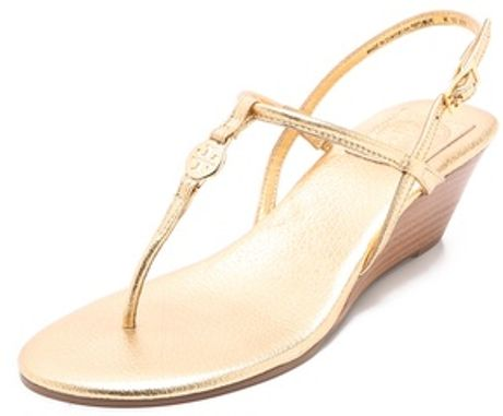 Tory Burch Emmy Demi Wedge Sandals in Pink  gold Tory Burch Emmy Wedge Sandals