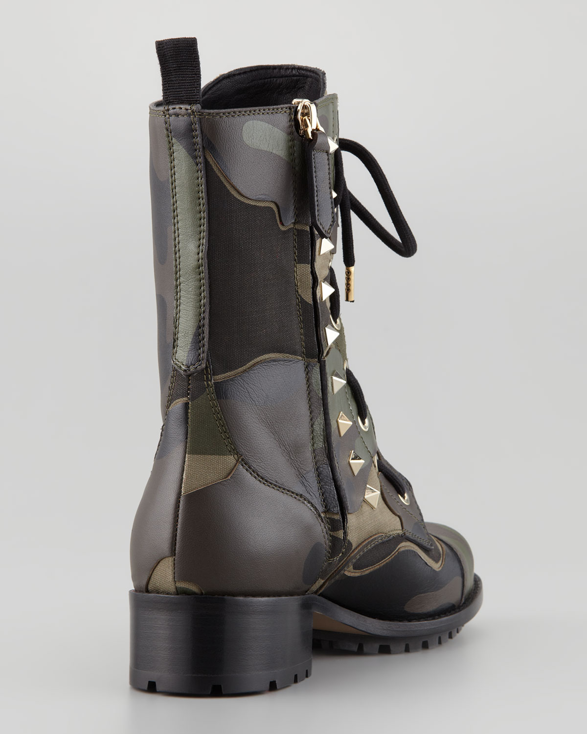 Valentino Camo Leather Canvas Combat Boot Army Green in Green | Lyst