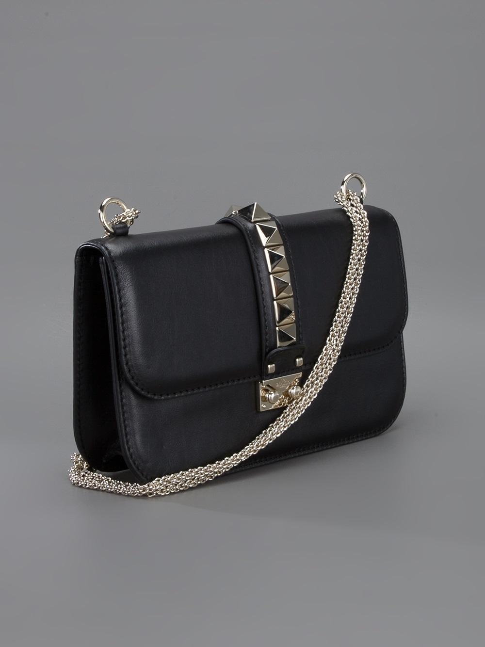 valentino rockstud lock medium shoulder bag in black lyst. Black Bedroom Furniture Sets. Home Design Ideas