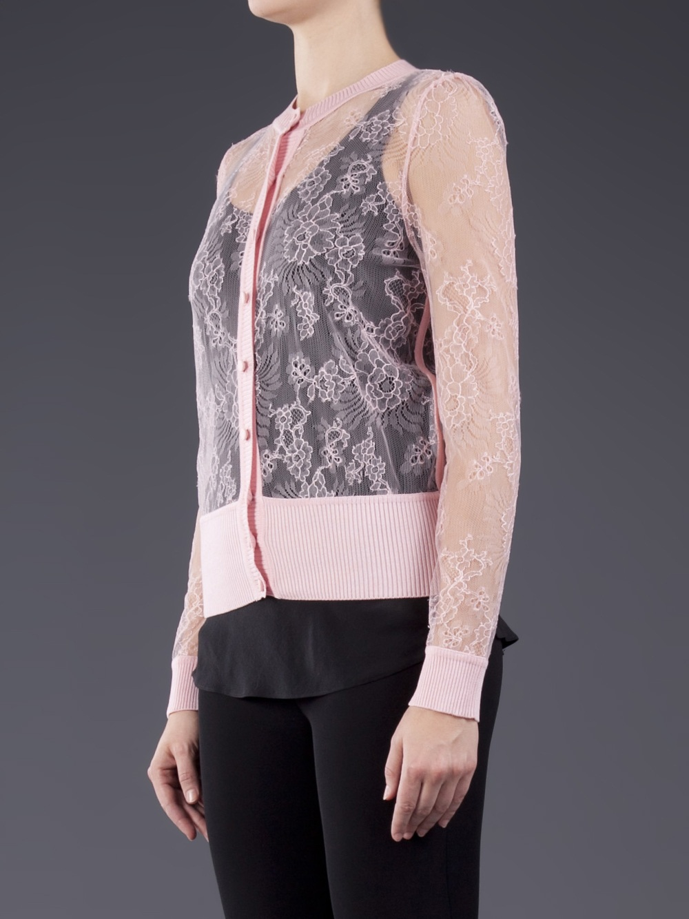 Valentino Sheer Lace Cardigan in Pink | Lyst