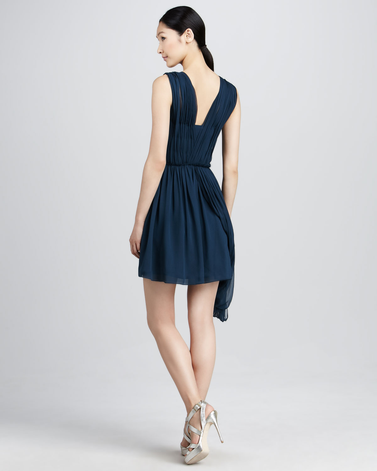 Vera wang lavender Ruched Chiffon Cocktail Dress in Blue | Lyst