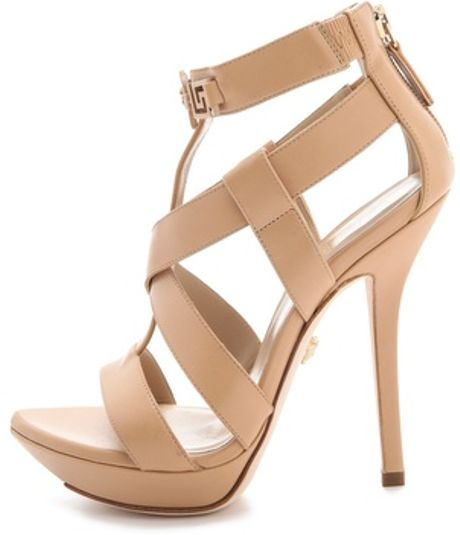 6f2cf73dbce4 Beige Strapped Back Zip Sandals