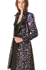 Versace Floral Trench Coat in Floral (black) - Lyst