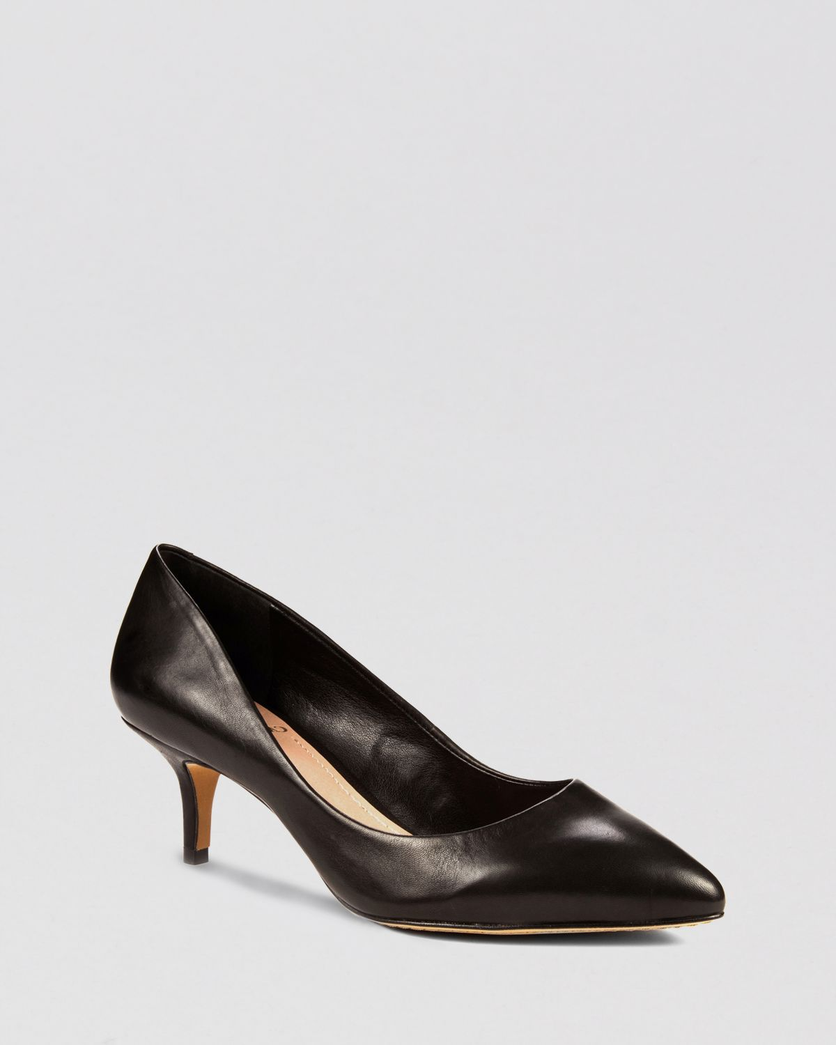 Vince camuto Pointed Toe Pumps Goldie Low Heel in Black | Lyst