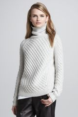Vince Cable-knit Turtleneck Sweater - Lyst