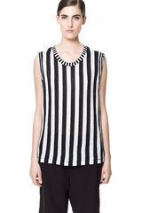 Zara Striped Linen Tshirt - Lyst