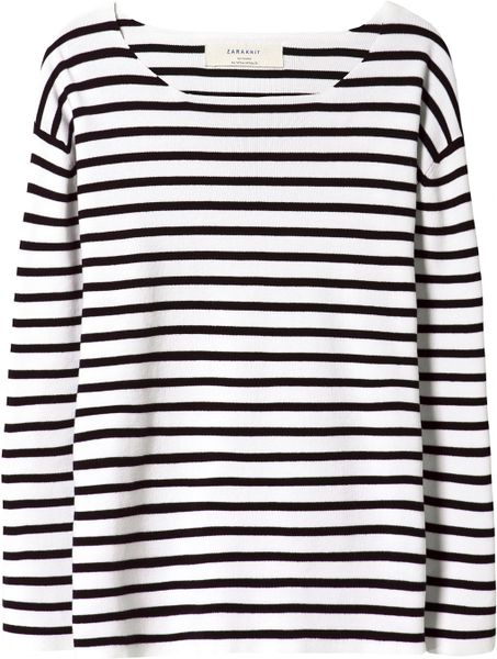 Zara Striped Sweater in Black (Black / White)